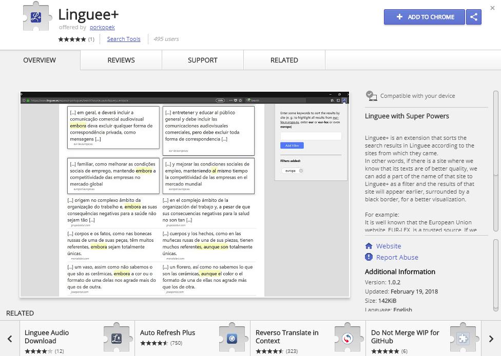Linguee расширение для браузера