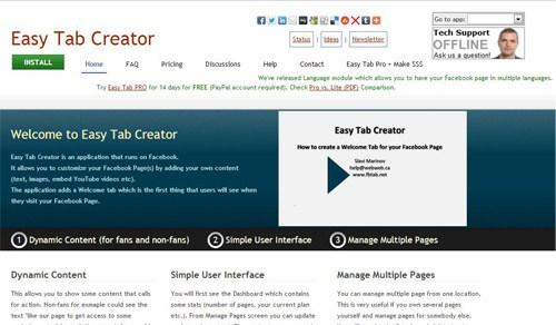 Приложение Easz Tab Creator для создания собственных вкладок на странице Фейсбука